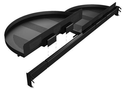 modular half-moon shelf display