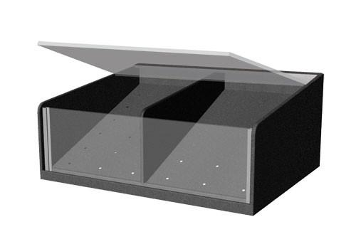clear front shelf organizer with lid and permanent divider PR19M-LID