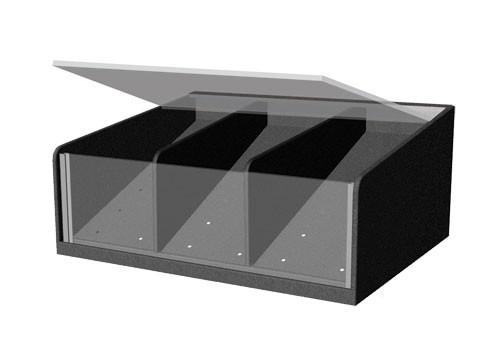 clear front shelf organizer with lid and permanent divider