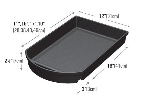 dimensions of 12 inch wide notched curved front shelf organizer