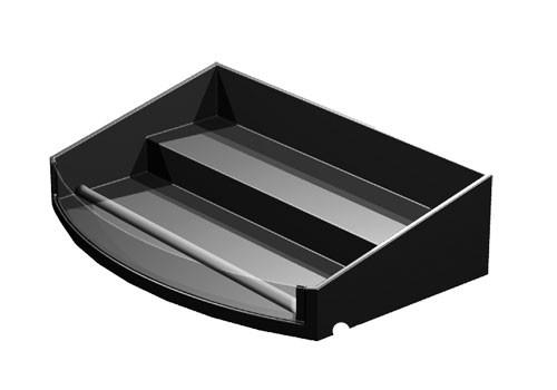 curved front shelf organizer with step
