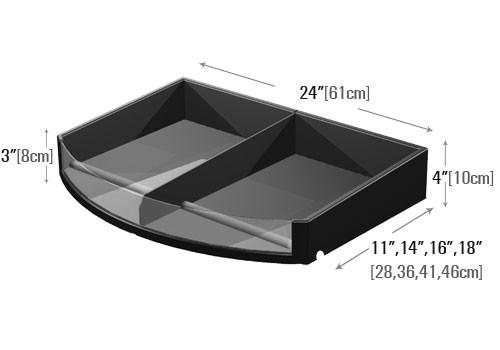dimensions of curved front shelf organizer with divider