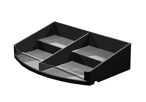 curved front stepped shelf organizer with divider
