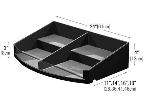 dimensions of curved front stepped shelf organizer with divider