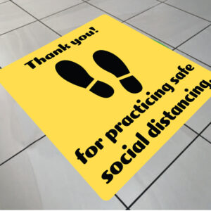 social distancing floor graphic square thank you for social distancing
