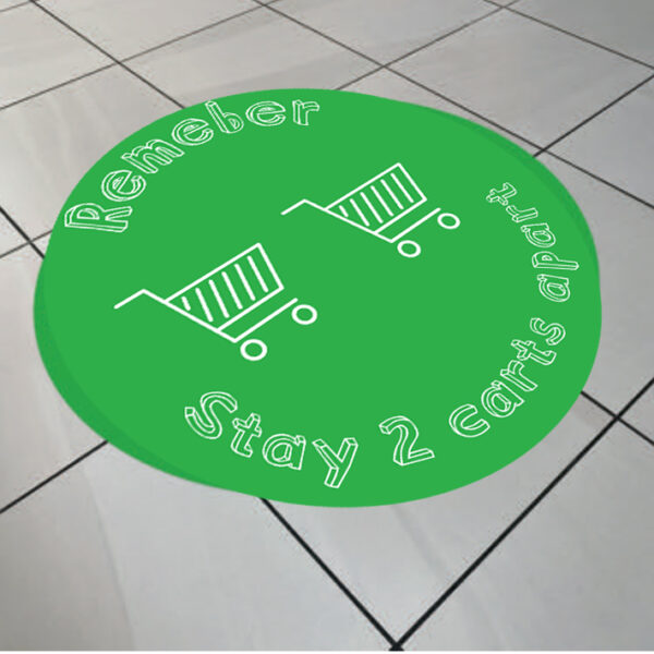 social distancing floor graphic two carts apart