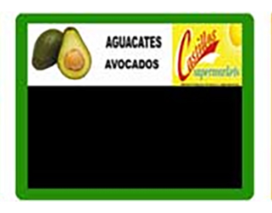 Example of a fully customizable and reusable grocery sign card for produce displays