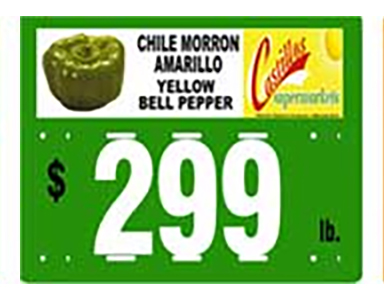 Example of a fully customizable and reusable grocery sign card for produce displays old school with numbers