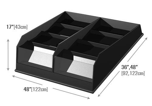 dimensions of Euro Table Clear Front Display Riser