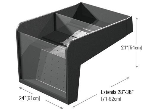 dimensions for high capacity clear front riser produce display