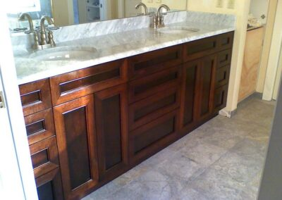 Calacatta Gold Marble Eased Edge and Undermount sinks.