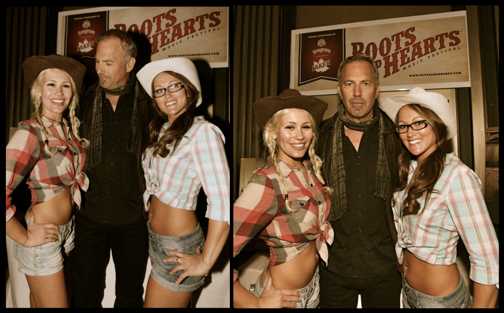 Theresa Longo with Kevin Costner at Boots and Hearts