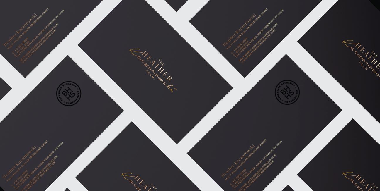 custom brand design heather kaczorowski team business cards