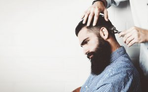 Mock up of bearded man in a barber shop