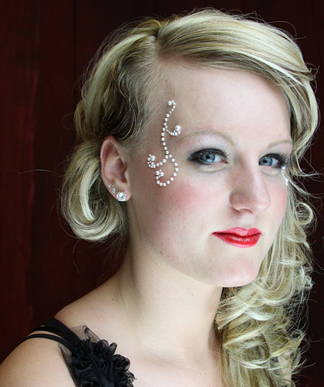 Blonde Woman with Red Lipstick and Bejeweled Makeup