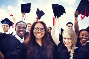 high school grads in robes