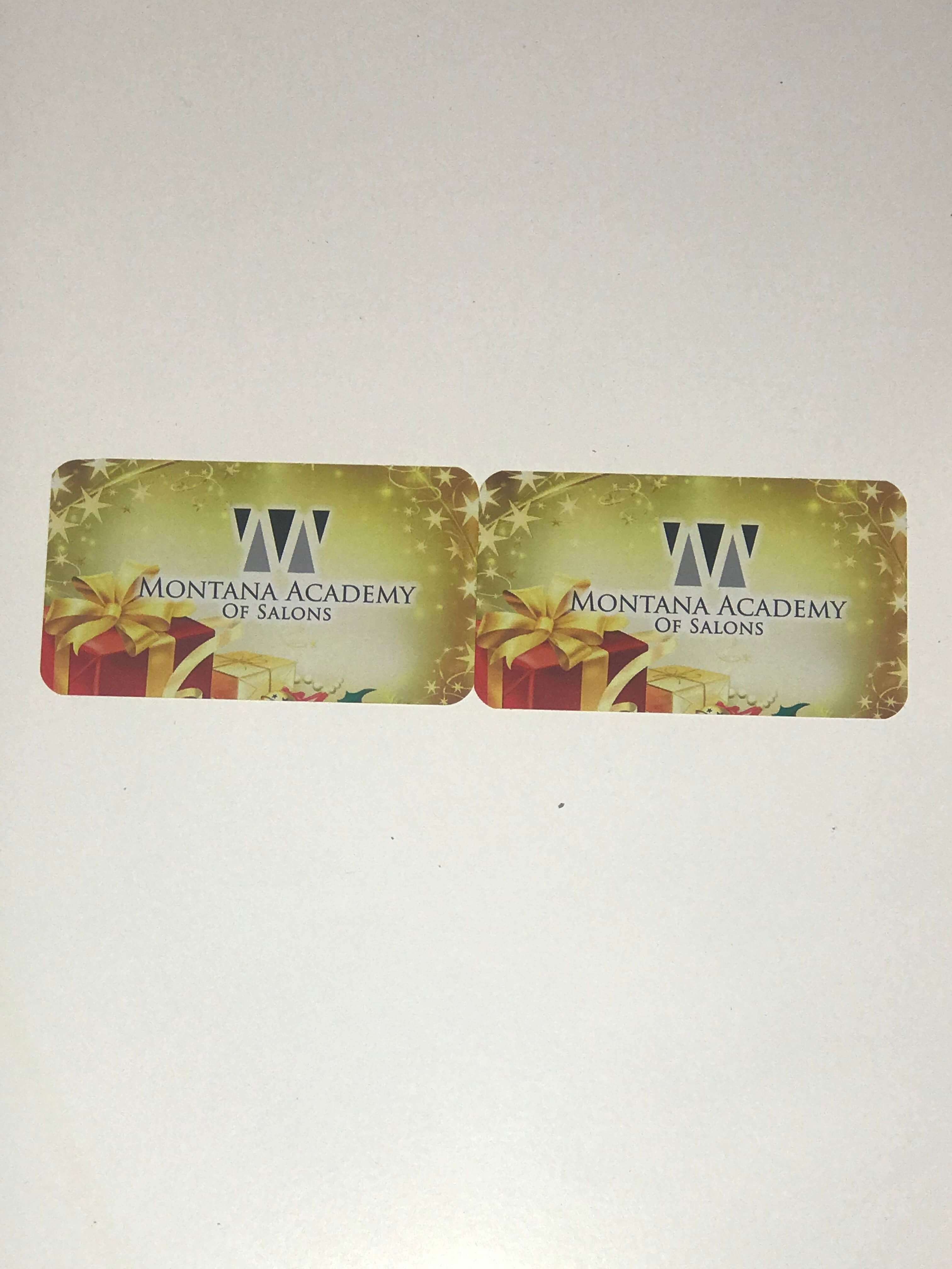 two Montana Academy gift cards