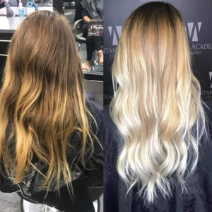 before and after hair cut and color
