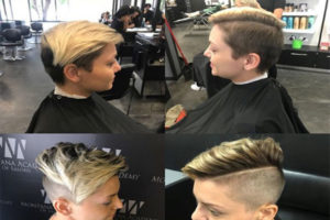 before and after barbering haircut