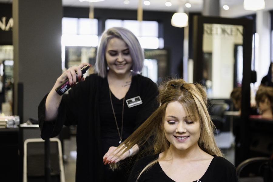 Student doing hair