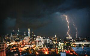 lightning storm over a city