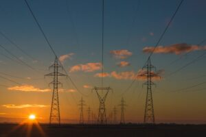 electrical poles in sunset