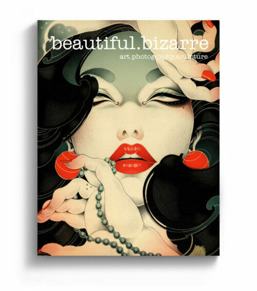 ONEQ pop surrealism painting on the cover of Beautiful Bizarre art magazine