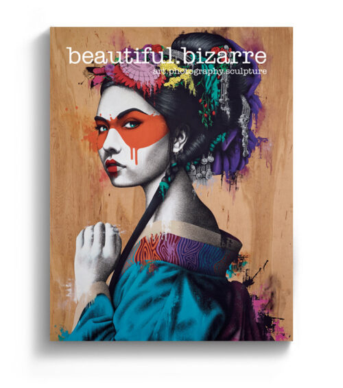 Fin Dac street art painting on the cover of Beautiful Bizarre art magazine
