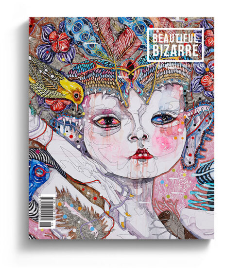 Australian artist Del Kathryn Barton surreal figurative painting on the cover of Beautiful Bizarre art Magazine