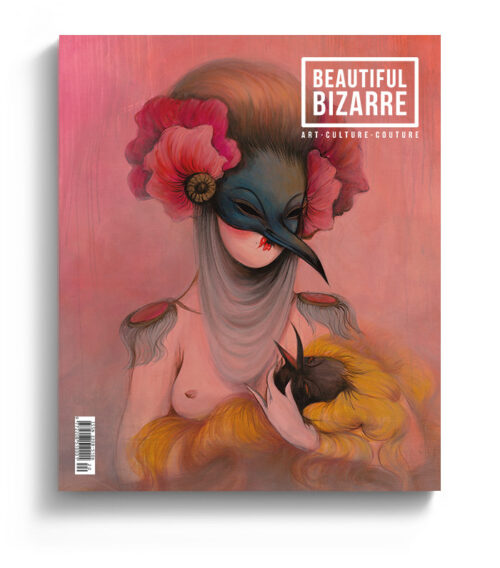Miss Van pop surrealism painting on the cover of Beautiful Bizarre Magazine