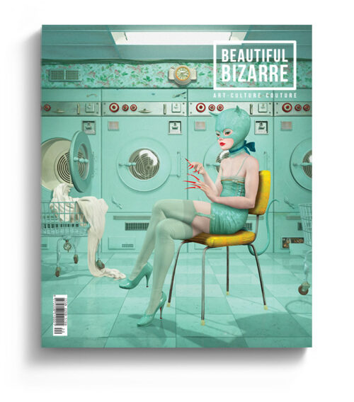 Ray Caesar surreal digital art on the cover of Beautiful Bizarre Magazine