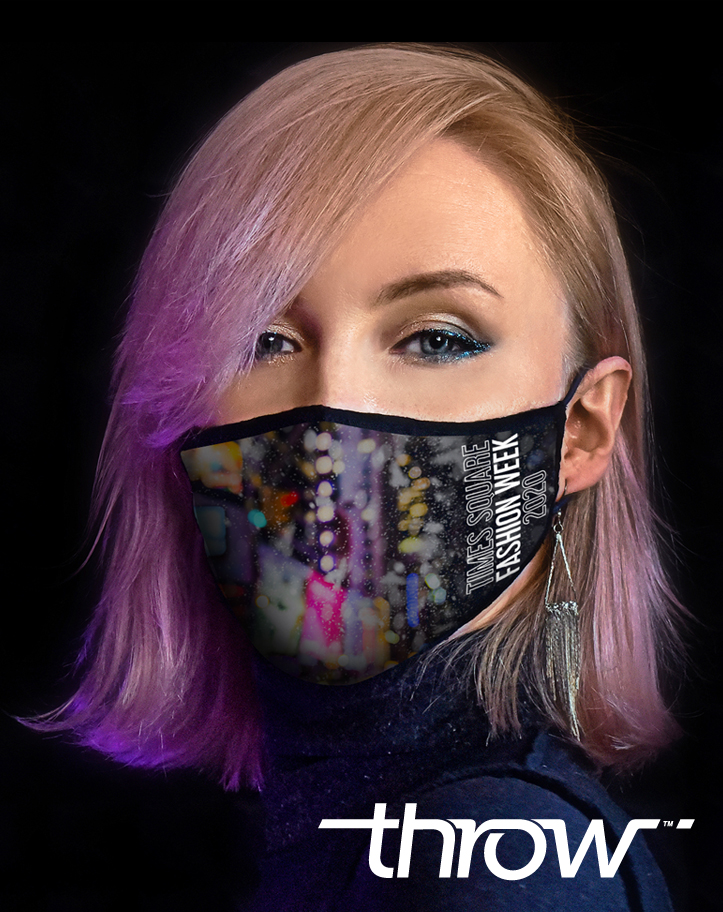 Sale of the Times Square Fashion Week facemask will benefit City Harvest.