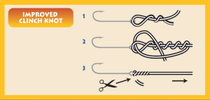 Image of fishing line and a hook with step-by-step instructions for tying an improved clinch knot