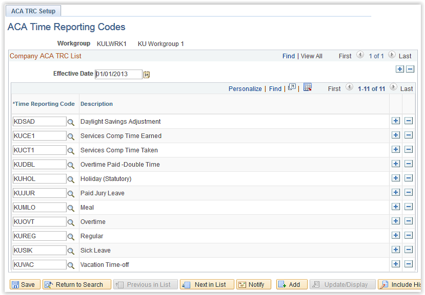 ACA Time Reporting Codes