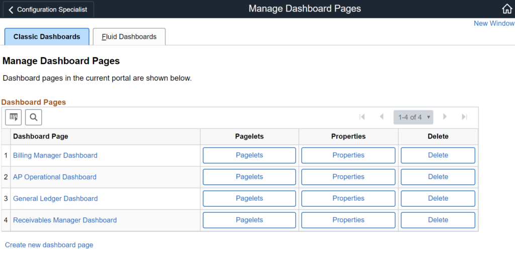 Configuration Specialist Manage Dashboard Pages