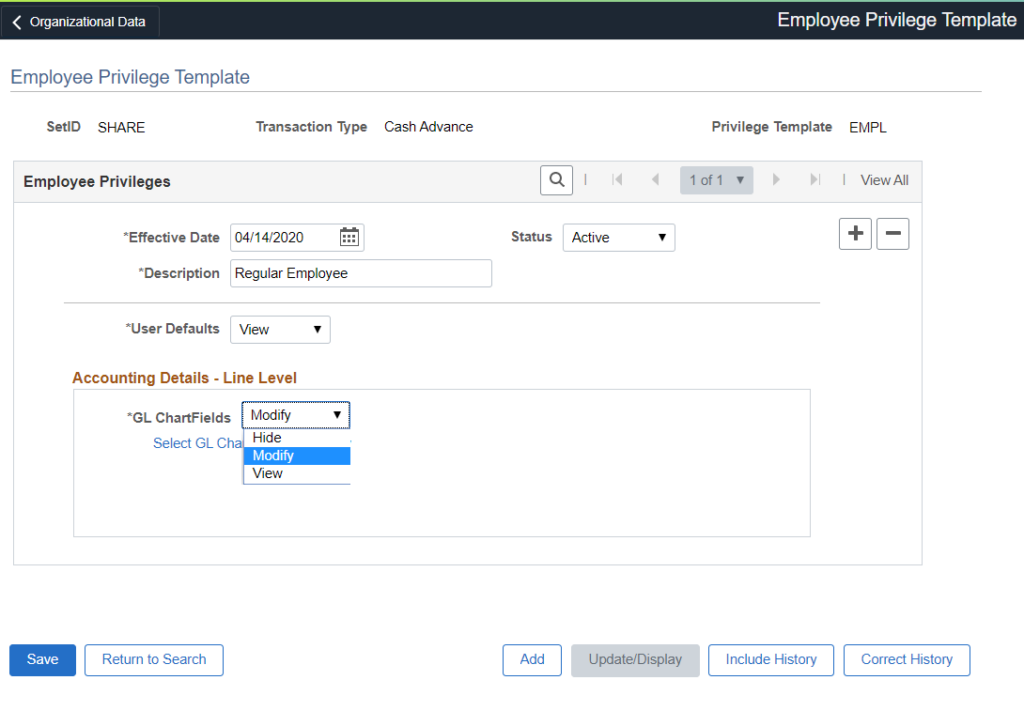 Accounting Details - Employee Privileges Template
