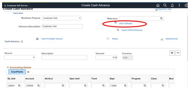User Defaults - Cash Advance