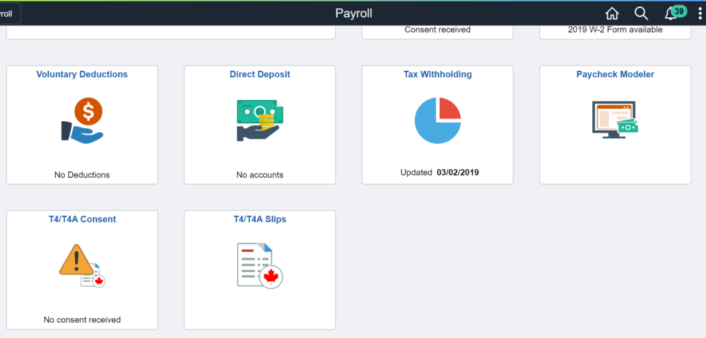 Tiles in Payroll Dashboard