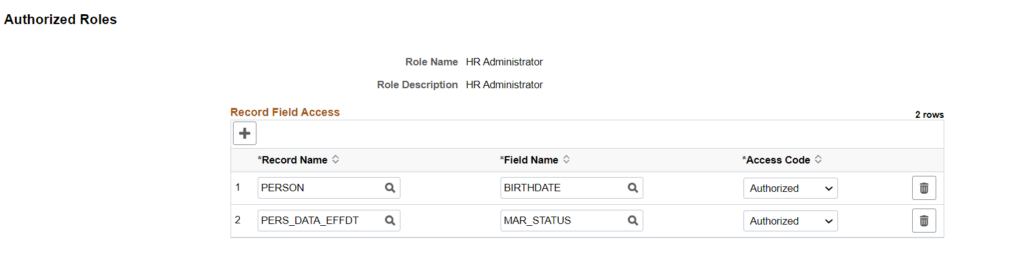 Authorized Roles - Query Masking