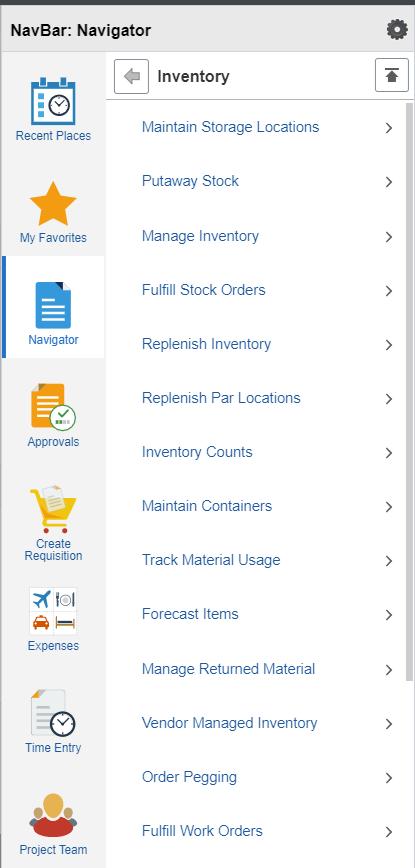 Inventory Nav Bar