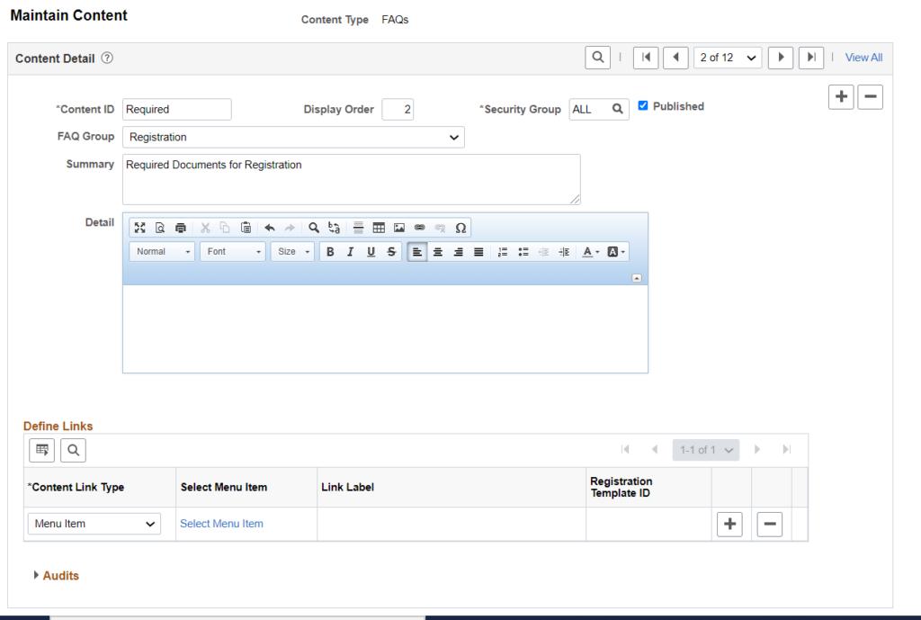 Supplier Portal - Content Detail