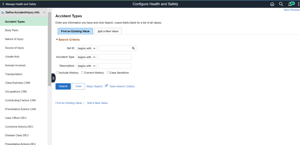 PeopleSoft Health and Safety - Configuration
