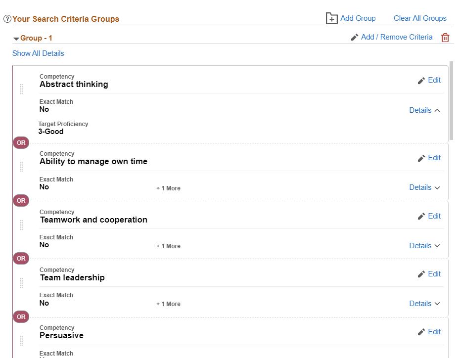 Search Criteria Groups