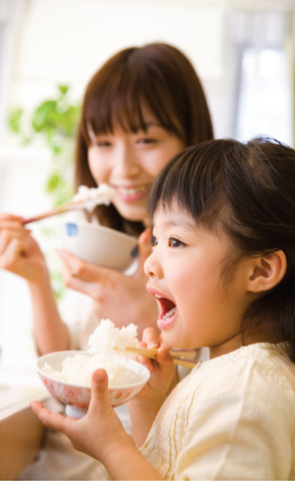 family eating rice