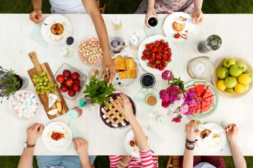 group having a picnic