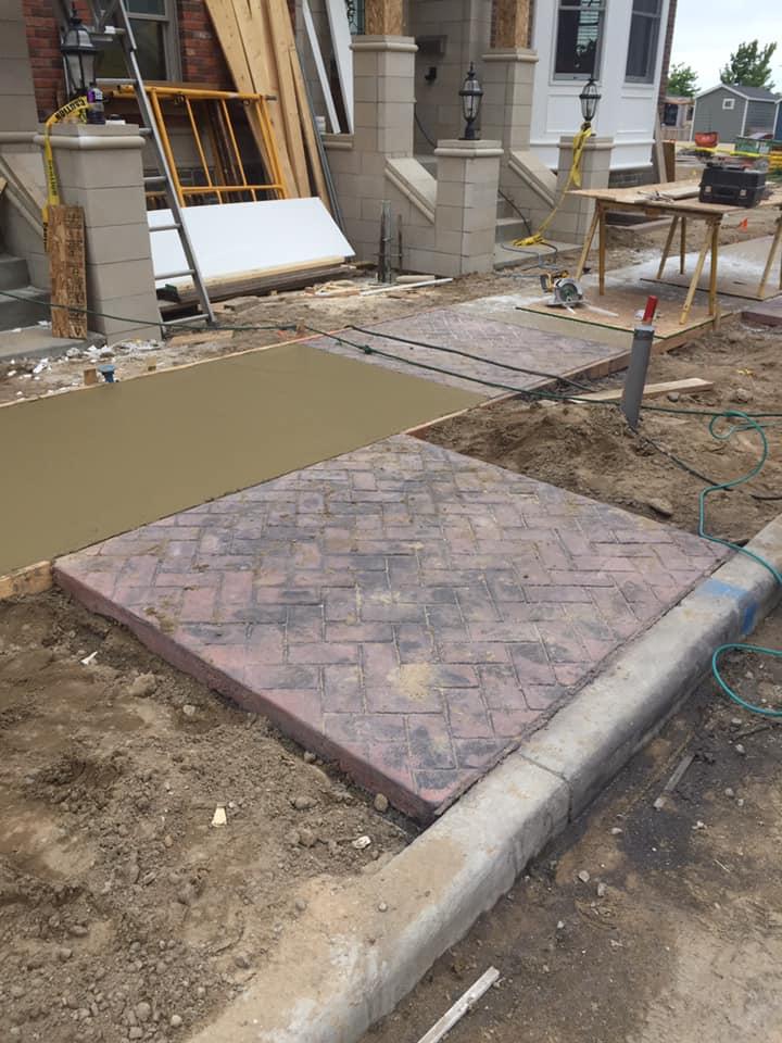 Residential sidewalk by concrete crew