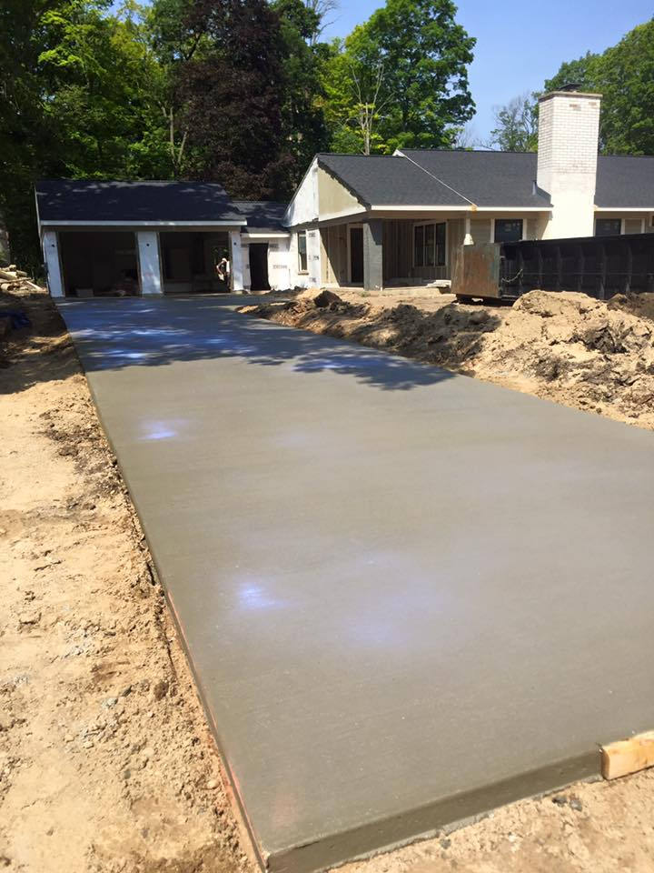 Smooth driveway poured for new house