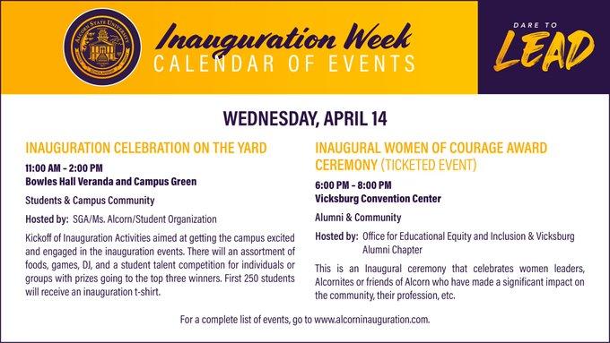 Inauguration Week Calendar of Events
