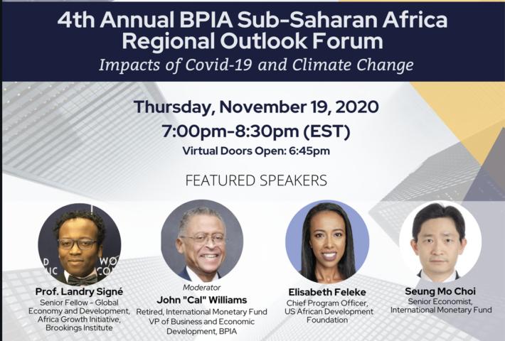 4th Annual BPIA Sub-Saharan Africa Regional Economic Outlook Forum w/ IMF & USADF