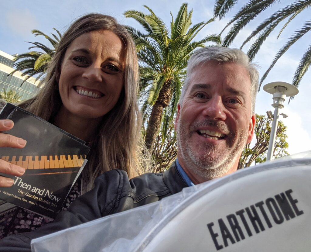 NAMM 2020 Earthtone Drumheads, Goldtone Percussion Amanda with David W. Hansen, Garden District Band